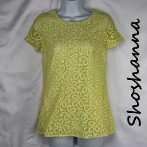 Anthropologie Shoshanna Yellow Floral Lace Blouse